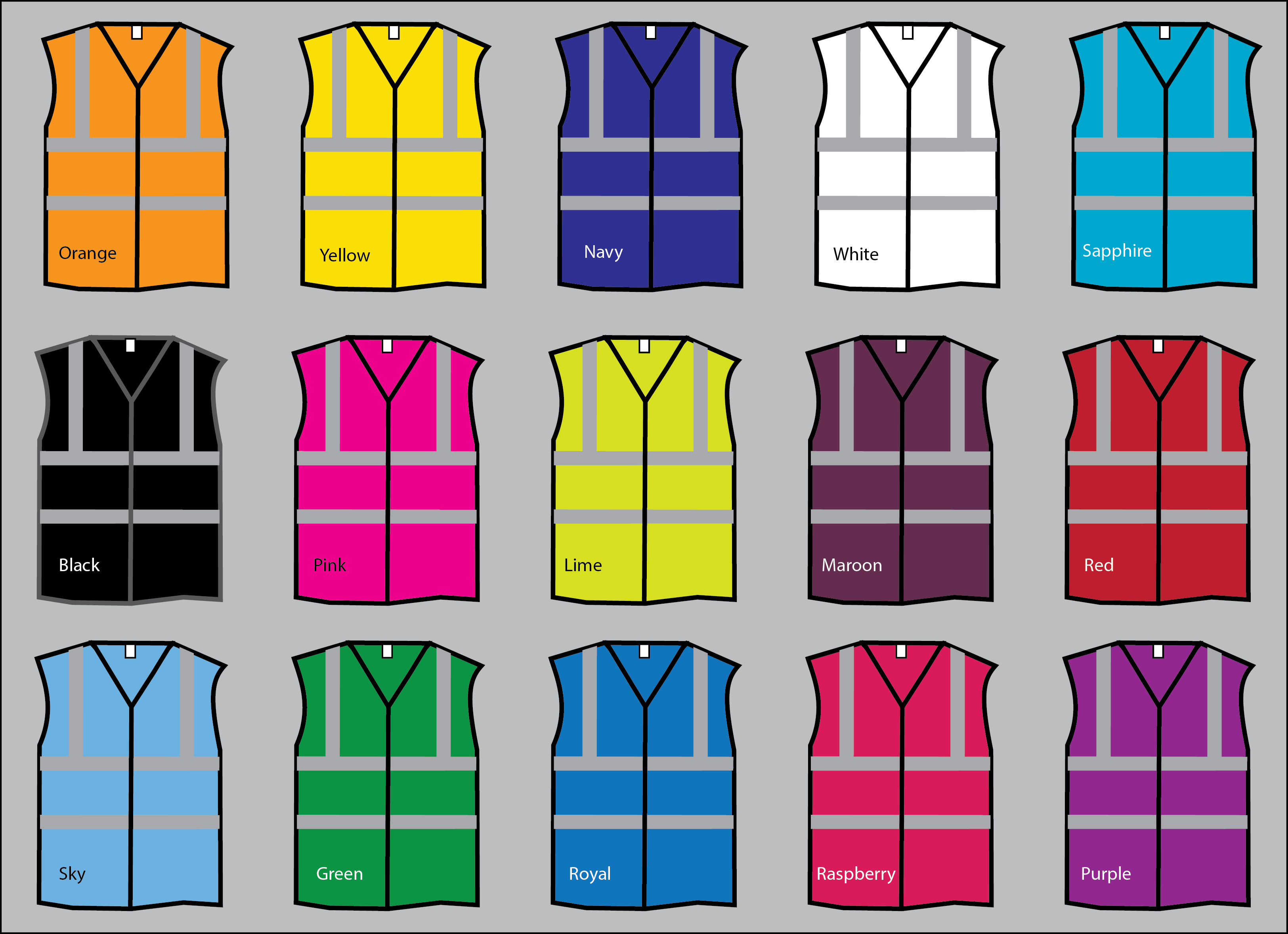 20 colour of hi-viz vests