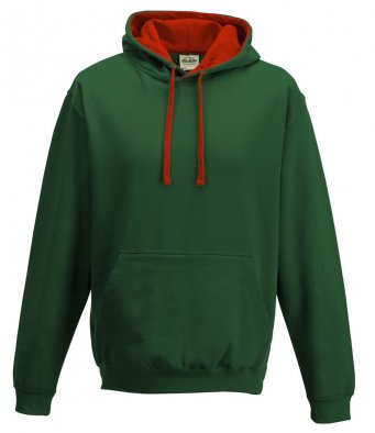 AWD varsity hoodie in bottle green/red