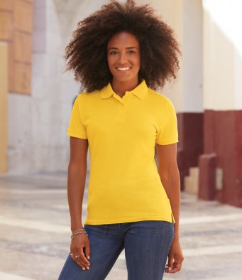 Ladies 65% polyester/35% cotton polo shirt by Fruit of the Loom